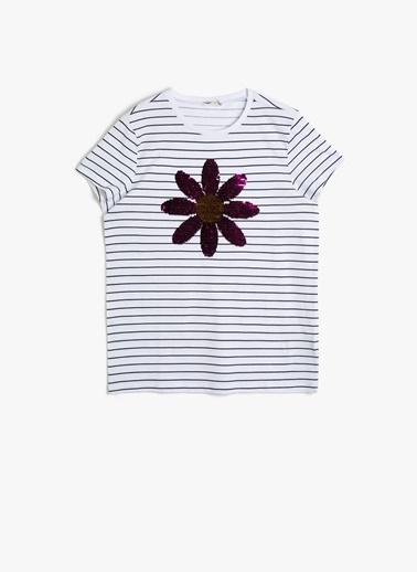 Koton Koton Çizgili Çift Taraflı Pullu T-Shirt Siyah